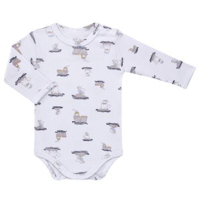 Imagem 2 do produto Body longo c/ Calça para bebe em algodão canelado Wally - Dedeka - DDK0890/E112 Conjunto de Body Canelado Estampado Morsa-M