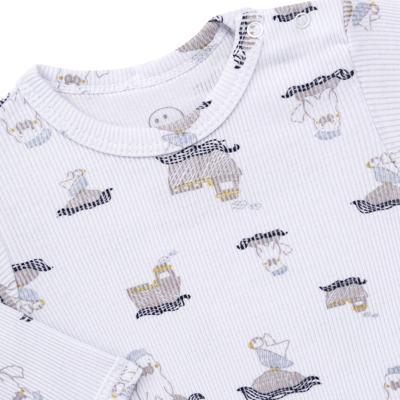 Imagem 3 do produto Body longo c/ Calça para bebe em algodão canelado Wally - Dedeka - DDK0890/E112 Conjunto de Body Canelado Estampado Morsa-M