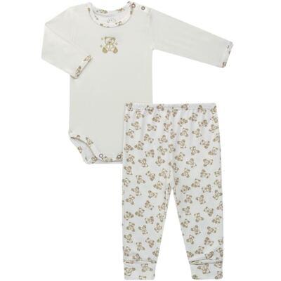 Body longo c/ Calça para bebe em suedine Ivory Bear - Dedeka - DDK16501/E100 Conjunto de Body Suedine Urso Bege -M