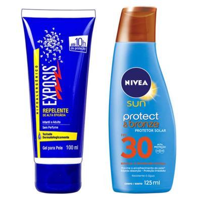 Imagem 1 do produto Repelente Exposis Gel 100ml + Protetor Solar Nivea Sun Protect & Bronze FPS 30 200ml