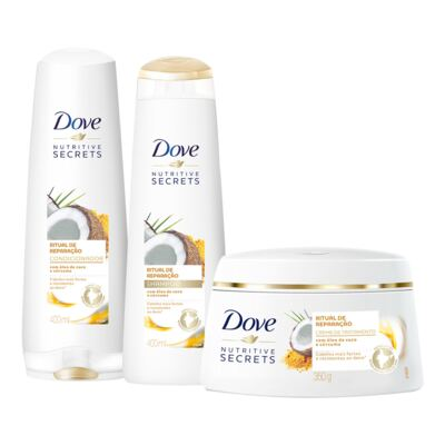 Kit Dove Ritual de Reparaçã Shampoo + Condicionador 400ml + Creme de Tratamento 350g