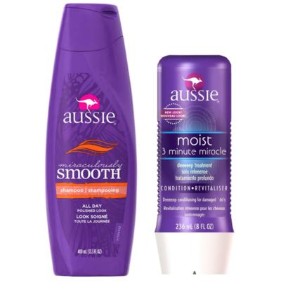 Imagem 1 do produto Kit Shampoo Aussie Smooth 400ml + Tratamento Capilar Aussie Moist 3 Minutos Milagrosos 236ml