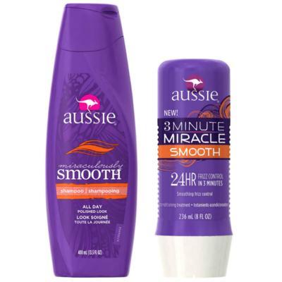 Imagem 1 do produto Kit Shampoo Aussie Smooth 400ml + Tratamento Capilar Aussie Smooth 3 Minutos Milagrosos 236ml