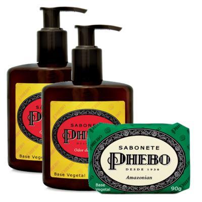 Sabonete Líquido Phebo Odor de Rosas 250ml 2 Unidades + Sabonete Phebo Amazonian 90g