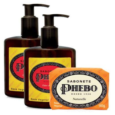 Sabonete Líquido Phebo Odor de Rosas 250ml 2 Unidades + Sabonete Phebo Naturelle 90g
