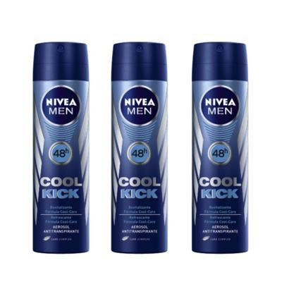 Desodorante Nivea Aerosol Aqua Cool Masculino 90ml 3 Unidades
