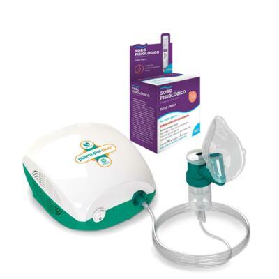 Imagem 1 do produto Kit Inalador Pulmopar Plus Nova Geração + Soro Fisiológico ADV Cloreto de Sódio 10 Ampolas