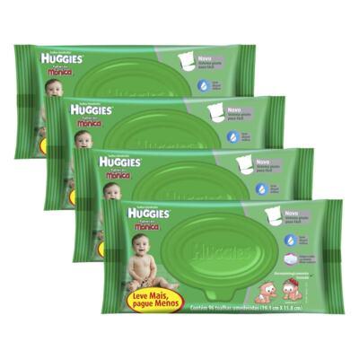 Imagem 1 do produto Kit 4 Lenços Umedecidos Huggies Aloe Vera 384 Unidades