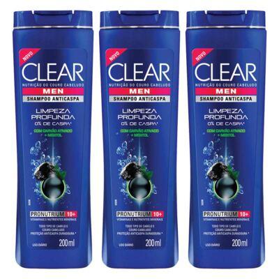 Kit 3 Shampoo Clear Men Limpeza Profunda Masculino 200ml