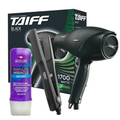Imagem 1 do produto Kit Secador Taiff Black 1700W 110V + Chapinha Taiff Cerâmica 180 Bivolt + Aussie Moist 3 Minutos