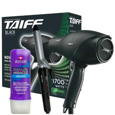 Imagem 1 do produto Kit Secador Taiff Black 1700W 110V + Modelador de Cacho Lizz Wave Bivolt + Aussie Moist 3 Minutos
