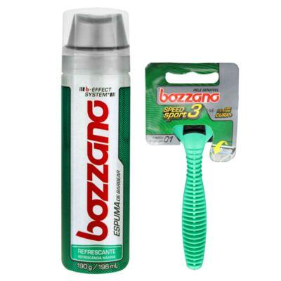 Kit Bozzano Espuma de Barbear Refrescante 190g + Aparelho de Barbear Speed 3