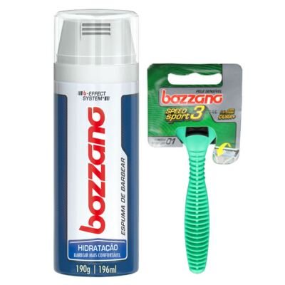 Imagem 1 do produto Kit Bozzano Espuma de Barbear Hidratação 196ml + Aaparelho de Barbear Speed 3