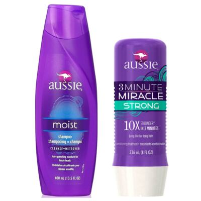 Imagem 1 do produto Kit Shampoo Aussie Moist 400ml + Tratamento Capilar Aussie Strong 3 Minutos Milagrosos 236ml