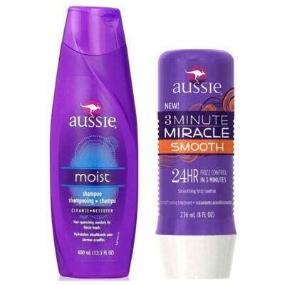 Kit Shampoo Aussie Moist 400ml + Tratamento Capilar Aussie Smooth 3 Minutos Milagrosos 236ml