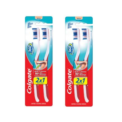 Escova Dental Colgate 360 Graus Leve 2 Pague 1 - 2 Packs
