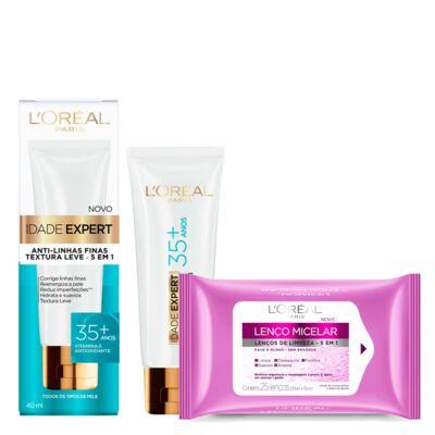 Kit L'oréal Creme Antissinais Idade Expert 35+ 40ml + Lenço De Limpeza Micelar 25 Unidades