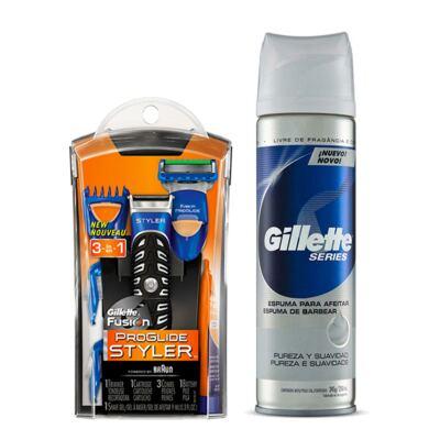 Kit Gillette Aparelho de Barbear Styler + Espuma de Barbear Séries Pureza e Suavidade 245g