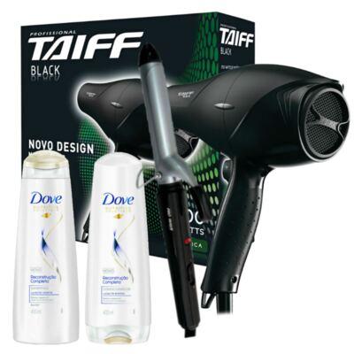 Imagem 1 do produto Kit Secador Taiff Black 1700W 110V + Modelador Lizz Wave Bivolt + Dove Reconst. Shampoo/Condic