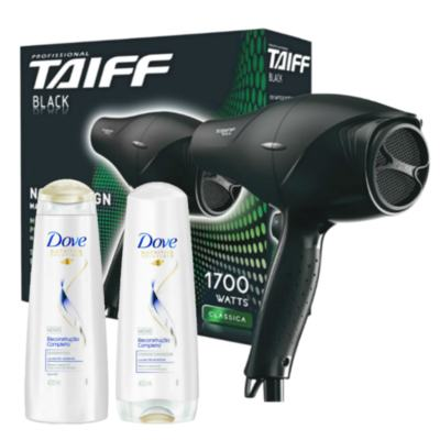 Imagem 1 do produto Kit Secador Taiff Black 1700W 110V + Kit Dove Reconstrução Completa Shampoo + Condicionador