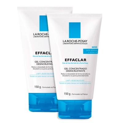 Imagem 1 do produto Effaclar Gel Concentrado Desincrustante La Roche Posay - Kit 2 Limpadores Faciais - 2x 150g