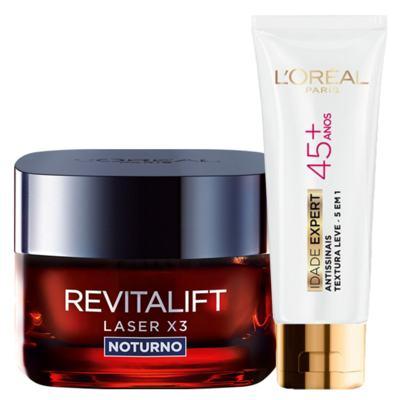 Kit L'Oréal Paris Revitalift Laser X3 Noturno + Idade Expert 45+ - Kit