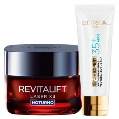 Imagem 1 do produto Kit L'Oréal Paris Revitalift Laser X3 + Idade Expert 35+ Noturno - Kit