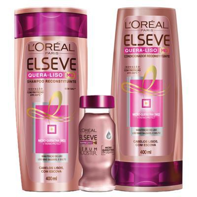Imagem 1 do produto Kit Shampoo + Condicionador + Sérum L'Oréal Paris Elseve Quera-Liso Mq 230°C - Kit