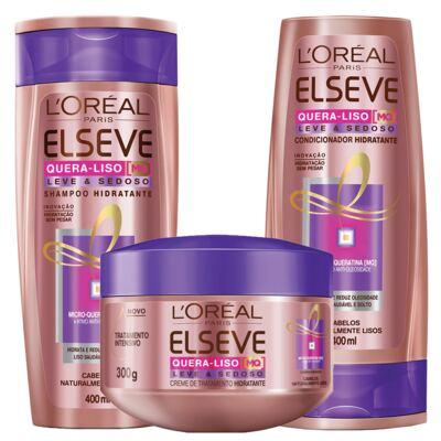 Kit Shampoo + Condicionador + Creme de Tratamento L'Oréal Paris Elseve Quera-Liso Leve e Sedoso - Kit