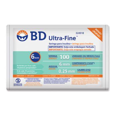 Imagem 1 do produto Seringa Insulina BD 1ml 6mm 10 Unidades