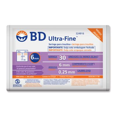 Seringa De Insulina Ultrafine 6mm - Com Agulha | 10 Seringas/3ml | Embalagem Fechada c/100