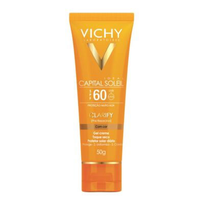 Protetor Solar Clareador Com Cor Vichy Capital Soleil Clarify Fps60 50g