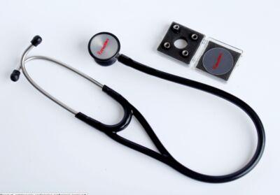 Kit Esteto Cardiológico Preto com Aparelho de Pressão Rosa Premium