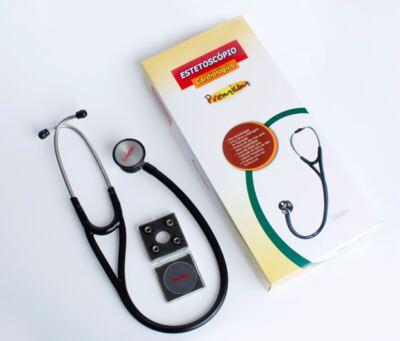 Imagem 2 do produto Kit Esteto Cardiológico Preto com Aparelho de Pressão Rosa Premium