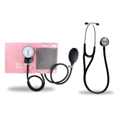 Imagem 6 do produto Kit Esteto Cardiológico Preto com Aparelho de Pressão Rosa Premium