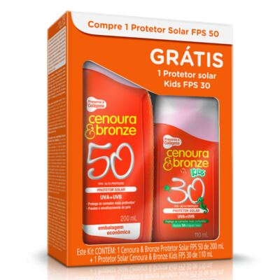 Imagem 1 do produto Kit Protetor Solar Cenoura & Bronze FPS 50 200ml + Protetor Solar Kids FPS 30 110ml