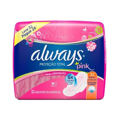 Imagem 1 do produto Absorvente Always Pink Abas 32 Unidades