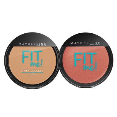 Fit Me! Pó Compacto + Blush Peles Médias Maybelline - Kit