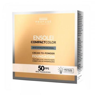 Imagem 1 do produto Base Compacta Ensolei Compact Color Profuse Bege Translúcido FPS 50 com 10g