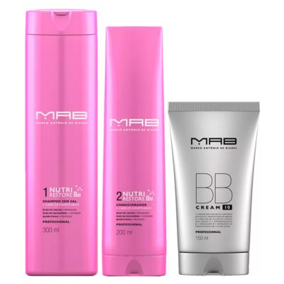 MAB Nutri Restore + BB Cream Kit - Shampoo + Condicionador + Leave-in BB Cream - Kit