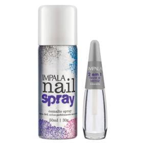 Esmalte Spray Nail Spray 369 Branco + 2 em 1 Base e Verniz Impala - Kit