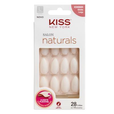 Unhas Postiças Kiss New York - Salon Natural Longo Estileto - 1 Un