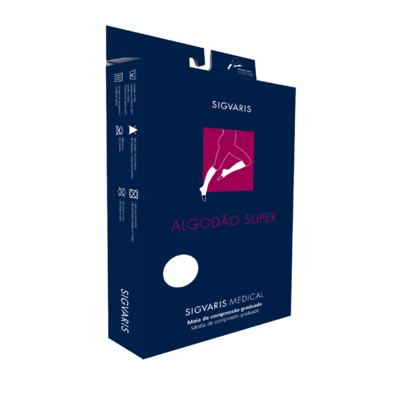 Imagem 2 do produto Meia Panturrilha 20-30 Algodão Super Sigvaris - Longa Bege Ponteira Aberta M