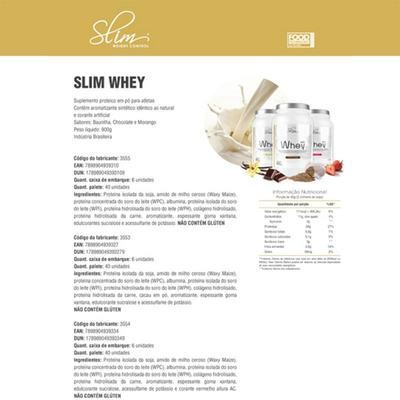 Imagem 2 do produto Kit Slim Whey 900g Morango + 01 BCAA 60 Cáps + 01 Creatina pura 100g  - Slim -
