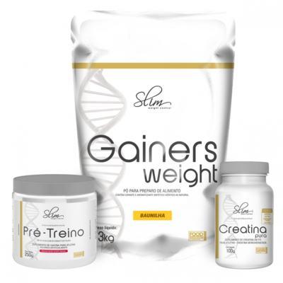 Imagem 1 do produto Kit Slim Gainers Weight Baunilha 3kg + 01 Pré Treino 250g + 01 Creatina Pura 100g - Slim -