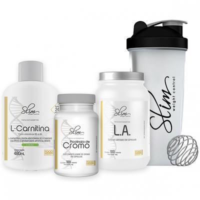 Imagem 1 do produto Kit Slim L-carnitina 480ml + Picolinato De Cromo 100caps + óleo De Cartamo 100caps + Coqueteleira - Slim -