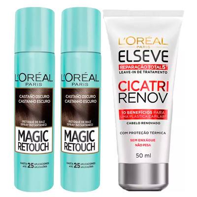L'Oréal Paris Magic Retouch + Ganhe Cicatri Renov Kit - Leave-In + 2 Corretivos Capilar Castanho Escuro - Kit