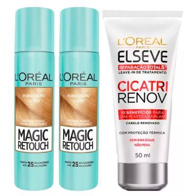 L'Oréal Paris Magic Retouch + Ganhe Cicatri Renov Kit - Leave-In + 2 Corretivos Capilar Louro Claro - Kit