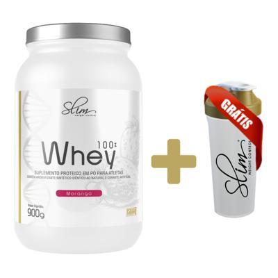 Imagem 3 do produto Whey 100% 900g - Slim - Morango Grátis Uma Coqueteleira. -