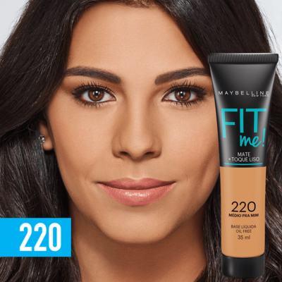 Imagem 3 do produto Fit Me! Maybelline - Base Líquida para Peles Médias - 220 - Médio Pra Mim